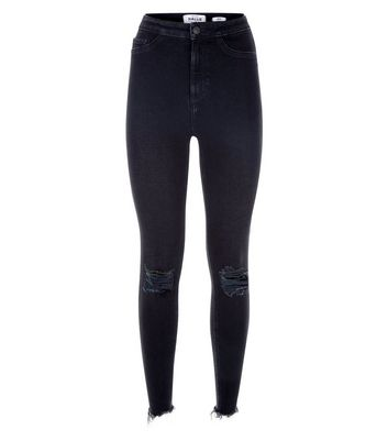 Black High Waist Ripped Super Skinny Hallie Jeans New Look