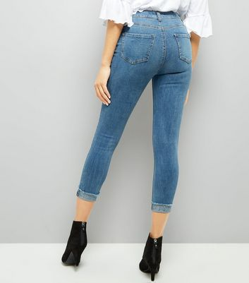 Blue Turn Up Fray Hem Skinny Jenna Jeans New Look