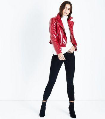 Black Button Hem Skinny Jenna Jeans New Look