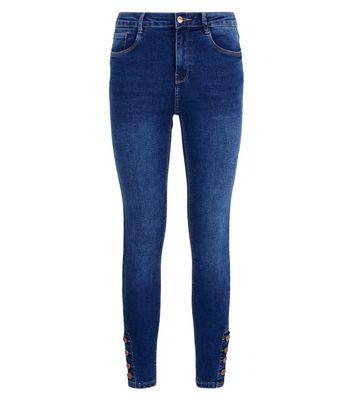 Blue Button Hem Skinny Jenna Jeans New Look