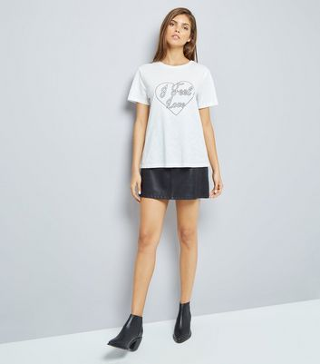 White I Feel Love Embroidered T-Shirt New Look