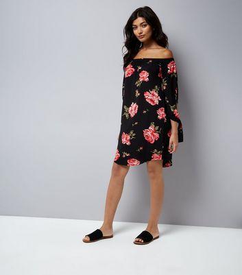 Cameo Rose Black Floral Print Tie Sleeve Dress New Look