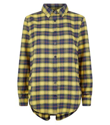 Parisian Yellow Check Dip Hem Shirt New Look