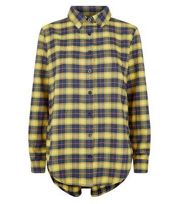 Parisian Yellow Check Dip Hem Shirt New Look
