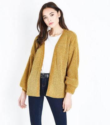 Mustard Chenille Balloon Sleeve Cardigan New Look