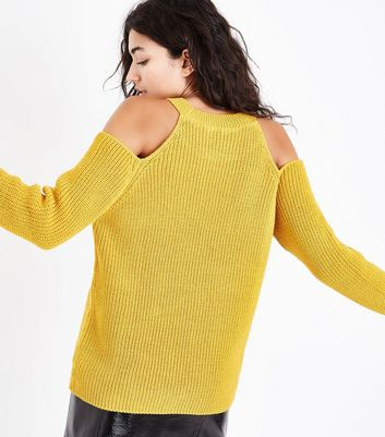 Mustard Yellow Ribbed Cold Shoulder Jumper New Look