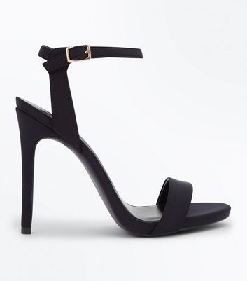Black Satin Stiletto Heel Sandals New Look