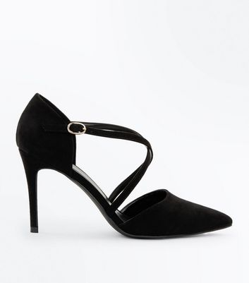 Black Suedette Cross Strap Pointed Courts New Look