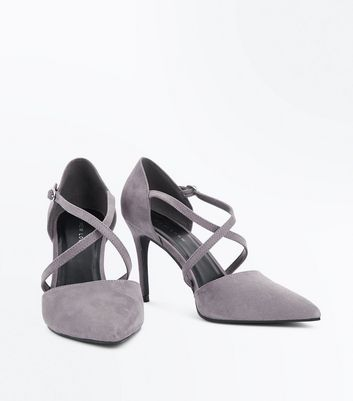 Grey Suedette Cross Strap Pointed Court Shoes New Look