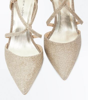 Gold Glitter Cross Strap Pointed Heels New Look