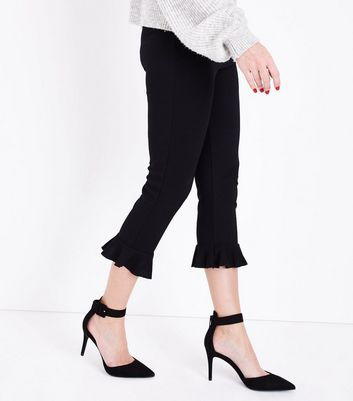 Black Suedette Chunky Ankle Strap Pointed Courts New Look