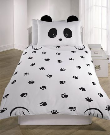 Black Panda Single Duvet Set New Look