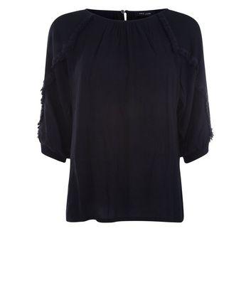 Black Fringe Sleeve Top New Look