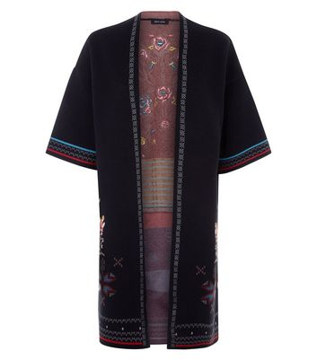 Black Floral Cross Stitch Kimono Cardigan New Look