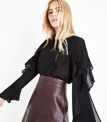 Black Lattice Panel Frill Sleeve Blouse New Look