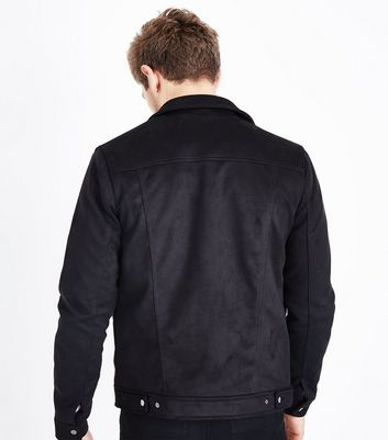 Black Faux Suede Western Jacket New Look