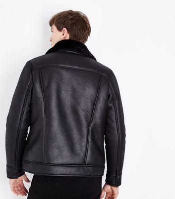Black Faux Fur Collar Western Jacket New Look