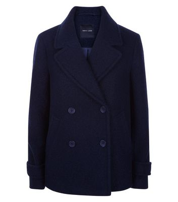 Navy Textured Pea Coat New Look