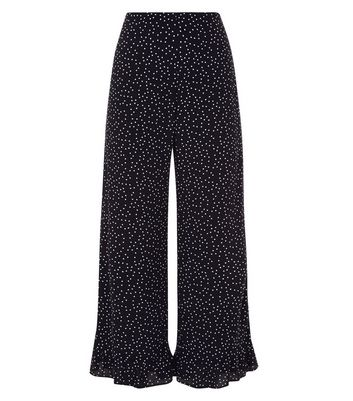 Black Spot Print Frill Hem Cropped Trousers New Look