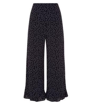 Black Spot Print Frill Hem Cropped Trousers New Look