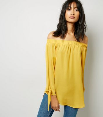 Cameo Rose Yellow Bardot Neckline Tie Sleeve Top New Look