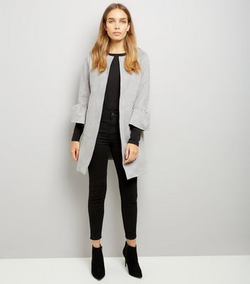 Cameo Rose Grey Suedette Frill Sleeve Longline Jacket New Look