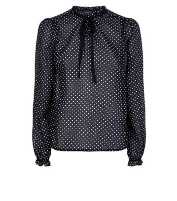 Black Polka Dot Tie Neck Blouse New Look