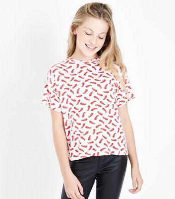 Teens White Chilli Pepper Print T-Shirt New Look