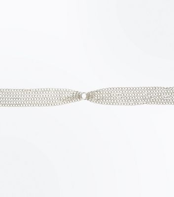 Silver Metallic Multi Chain Belt New Look