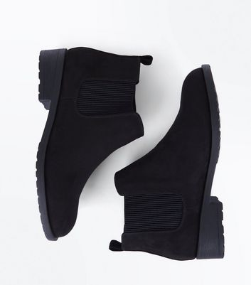Teens Black Suedette Chelsea Boots New Look