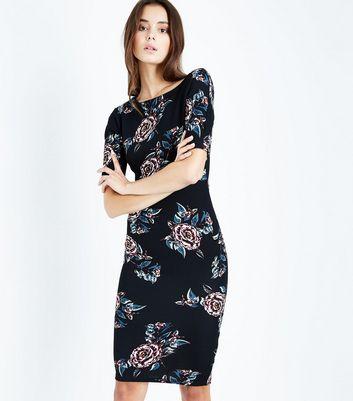 AX Paris Black Floral Midi Dress New Look