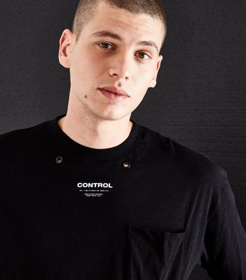 Black Control Eyelet T-Shirt New Look
