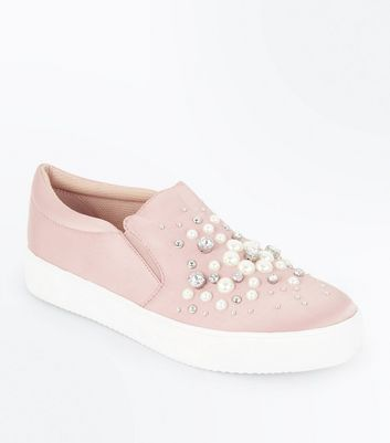 pink-satin-pearl-embellished-slip-on-trainers by new-look