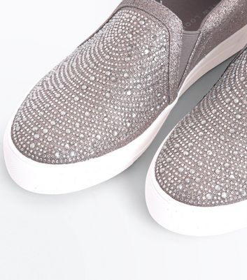 Pewter Embellished Glitter Slip On Trainers New Look