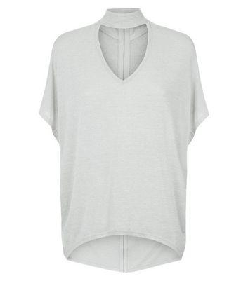 Apricot Grey Choker Neck T-Shirt New Look