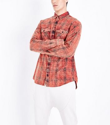 Red Acid Washed Check Shirt New Look