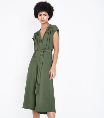 Khaki Wrap Front Culotte Jumpsuit New Look