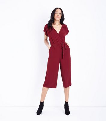 Burgundy Wrap Front Culotte Jumpsuit New Look