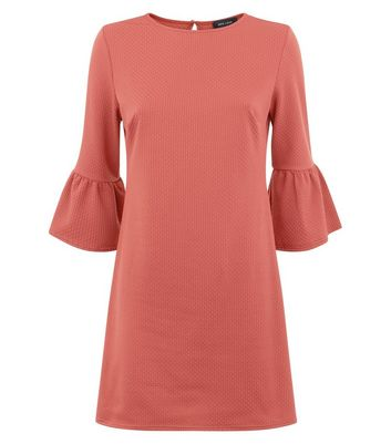 Rust Bell Sleeve Jersey Tunic Dress New Look