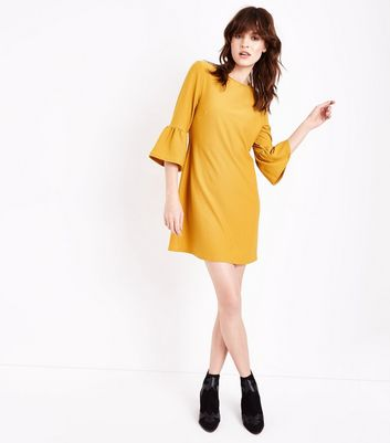Mustard Bell Sleeve Jersey Tunic Dress New Look