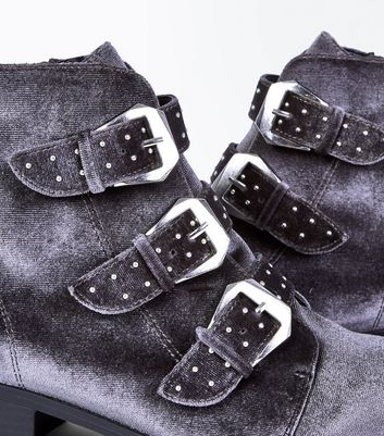 Grey Velvet Stud Buckle Ankle Boots New Look