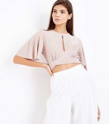 Shell Pink Crinkle Flutter Sleeve Crop Top New Look