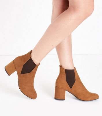 Tan Comfort Flex Suedette Block Heel Boots New Look