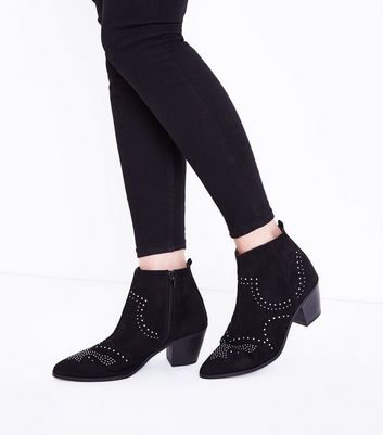 Black Suedette Stud Heeled Western Boots New Look