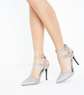 Wide Fit Silver Glitter Double Ankle Strap Pointed Heels New Look