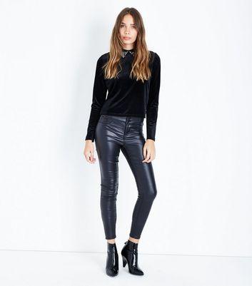 Black Velvet Beaded Collar Top New Look