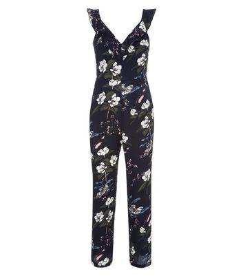 Petite Black Floral Frill Neck Culotte Jumpsuit New Look