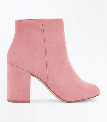 Pink Suedette Block Heel Ankle Boots New Look