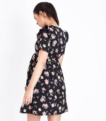 Maternity Black Floral Frill Trim Dress New Look