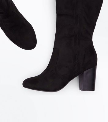 Black Suedette Heeled Western Knee High Boots New Look